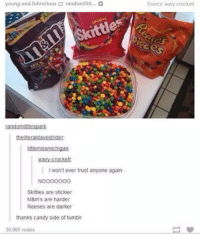 Candy, Memes, and Reese's: young and fuhrerious p randomlittl...  randomlittbespark  Littlemissmichigan  wavylcrockett  Iwon't ever trust anyone again.  Skittles are stickier  M&m's are harder  Reeses are darker  thanks candy side of tumblr  30,065 notes  Source wary crockett