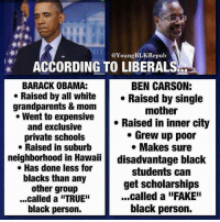 """Carson is vastly more qualified than Obama.: @Young BLKRepub  ACCORDING TO LIBERALS  BARACK OBAMA:  BEN CARSON:  Raised by all white  Raised by single  grandparents & mom  mother  Went to expensive  Raised in inner city  and exclusive  Grew up poor  private schools  Makes sure  Raised in suburb  neighborhood in Hawaii  disadvantage black  Has done less for  students can  blacks than any  get scholarships  other group  ...called a """"FAKE""""  ...called a """"TRUE""""  black person.  black person. Carson is vastly more qualified than Obama."""