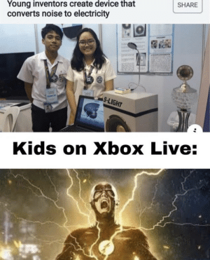 .: Young inventors create device that  converts noise to electricity  SHARE  eALLERT  S-LIGHT  Kids on Xbox Live: .