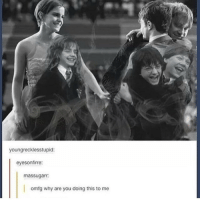 Memes, 🤖, and Why Are You Doing This: youngrecklesstupid:  eyesonfirre:  massugam  omfg why are you doing this to me qotd: harry, ron or hermione? ✨✨✨