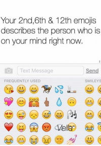 Memes, Emojis, and Text: Your 2nd, 6th & 12th emojis  describes the person who is  on your mind right now  Text Message  Send  FREQUENTLY USED  SMILEYS