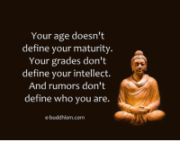 Memes, 🤖, and Defines: Your age doesn't  define your maturity  a  Your grades don't  define your intellect.  And rumors don't  define who you are.  e-buddhism com