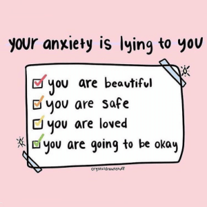 Target, Tumblr, and Anxiety: your anxiety is lying to yov  you are beavtiful  Dyov are safe  C you are loved  E you are going to be okay  crystaldrawsstuff femestella:Trump Induced Anxiety is Very, Very Real — Psychologist Confirms