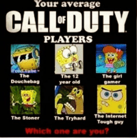 Tough Guy: Your average  CALL DUTY  PLAYERS  The girl  The  The 12  Douchebag  year old  gamer  The Stoner  The Trytard  The Internet  Tough guy  Which one are you?