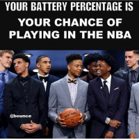 Memes, Nba, and 🤖: YOUR BATTERY PERCENTAGE IS  YOUR CHANCE OF  PLAYING IN THE NBA  DING  @bounce What's your chance of playing in the NBA? (via @bounce)