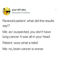 Head, Wow, and Brain: your bff alex  @psybermonkey  Paranoid patient: what did the results  Say!?  Me: as l suspected, you don't have  lung cancer. It was all in your head  Patient: wow what a relief  Me: no, brain cancer is worse