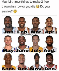 Memes, Nba, and Free: Your birth month has to make 2 free  throws in a row or you die Do you  survive? (1)  @nba memes 24  ayluune July Aug.I  Sept. OctNov Dec Do you survive? 👀