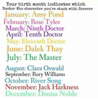 clara oswald: Your birth month indicates which  Doctor Who character you're stuck with forever  January: Amy Pond  February: Rose Tyler  March: Ninth Doctor  April: Tenth Doctor  Mav: Eleventh Doctor  June: Dalek Thay  July: The Master  August: Clara Oswald  September: Rory Williams  October: River Song  November: Jack Harkness  December: Donna Noble