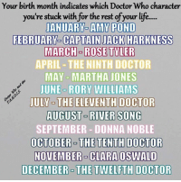 clara oswald: Your birth month indicates which Doctor Who character  you're stuck with for the rest of your lif...  IANUARY-AMY POND  FEBRUARY- CAPTAIN JACK HARKNESS  MARCH - ROSE TYLER  APRIL THE NINTHDOCTOR  MAY- MARTHA JONES  JUNE- RORY WILLIAMS  JULY- THE ELEVENTH DOCTOR  AUGUST RIVER SONG  SEPTEMBER DONNA NOBLE  00TUEER。THE TENTH DOCTOR  NOVEMBER- CLARA OSWALD  DECEMBER- THE TWELFTH DOCTOR