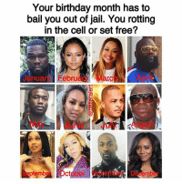 🤷🏽♀️: Your birthday month has to  bail you out of jail. You rotting  in the cell or set free?  Jry FebruaryMarApril  anua  May June July August  SeptmberOctober November December 🤷🏽♀️