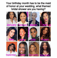 💎: Your birthday month has to be the maid  of honor at your wedding, what themed  bridal shower are you having?  January February March April a  May e July August  September October Nove  Deceinber 💎