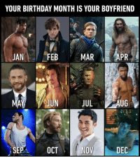 9gag, Birthday, and Memes: YOUR BIRTHDAY MONTH IS YOUR BOYFRIEND  JAN  FEB  MAR APR  JUN  JUL  UG  OCT  DEC Everyone is a winner ^__^⠀ birthdaymonth boyfriend 9gag