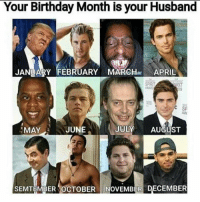 Birthday, Husband, and April: Your Birthday Month is your Husband  JANUARY FEBRUARY MARCHau APRIL  RIT  JUL  AUGUST  JUNE  MAY  SEMTEMBER OCTOBER  OVEMBER DECEMBER What did you get?