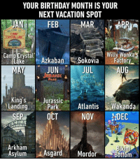 Birthday, Dank, and Book: YOUR BIRTHDAY MONTH IS YOUR  NEXT VACATION SPOT  JAN FEB  WELCOME To  CAMP  CRYSTAL LAKE  Cuostat Azkaban Sokoviaily xlorlkas  JUNJUL  JURASSIC  actory  AUG  King'S Jurassic  LandingParkAtlanis Wakanda  SEP0CT NOV DC  Arkham  Asylum Asgard. Mordor  ottom Book your tickets