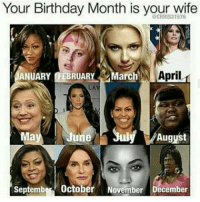 Man fuck yall may5: Your Birthday Month is your wife  JANUARY FEBRUARY  March  NA  April  LAV  July August  September October November December Man fuck yall may5