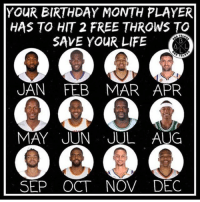 Are you dying? 👀: YOUR BIRTHDAY MONTH PLAYER  HAS TO HIT 2 FREE THROWS TO  SAVE YOUR LIFE  AL  UAN FEB MAR APR  MAY JUN JUL AUG  SEP OCT NOV DEC Are you dying? 👀