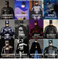 "Batman, Birthday, and Community: YOUR BIRTHDAY MONTH YOUR BAT  JANUARY FEBRUARY  MARC  APRIL  Chhiatiop  Bale  Olan Soule  Adam West Diedrich Bader  HEBATMA  UNE  AUGUST  JULY  George One  Lewis Wilson  Jason O'Mara  Ben Affleck  OHISTORYORTHEBATMAN  SEPTEMBER ocTOBER NOVEMBER DEC  Kevin Conroy  Val Kim  Michael Keaton Robert Lowery Good Knight Gothamites! Tomorrow we'll continue our current history session ""Batman's Year One in Detective Comics""! I leave you tonight with an account edit for this Batman community: what is your Batman according to your birthday month? My birthday is in February so my Batman is Olan Soule, the voice of Batman in the original animated Batman and Super Friends tv series! Let us know in the comments your Dark Knight! As always, thanks for following and all the constant support, have a great night and we will have more History of the Batman tomorrow. Remember Gothamites it's all about Peace, Love and Batman! ✌🏼💙🦇📽📺"
