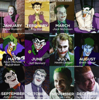 """Batman, Birthday, and Community: YOUR BIRTHDAY MONTH YOUR  JOKER  JANUARY  19REB  RY MARCH  Jack Nicholson  sar Romero  Larry Storch  ISTORYOFTHEBATMAN  JULY  MAN  JUNE  AUGUST  Kevin Michael  Jeff Bennett  Heath Ledger  Brent S  Richardson  OHISTORYOFTHEBATMAN  SEPTEMBER To  NOVEMBER DECE  John DiMaggio Mich  Cameron M naghan  ed Leto Good Knight Gothamites! Tomorrow we will continue our current history session """"The ABC's of The Joker""""! I leave you tonight with an account edit for this entire Batman community: which Joker are you based on your birthday month? My birthday is in February so I'm Larry Storch who voiced the Joker in The Adventures of Batman from 1968! So, who is your Clown Prince of Crime? Let us know in the comments below! As always, thanks for following here on Instagram and on Twitter (HistoftheBatman), Tumblr, Facebook and YouTube (HistoryoftheBatman), it is greatly appreciated! Have a great night and we will have more History of the Batman tomorrow. Remember Gothamites, it's all about Peace, Love and Batman! ✌🏼💜💚🃏😄"""