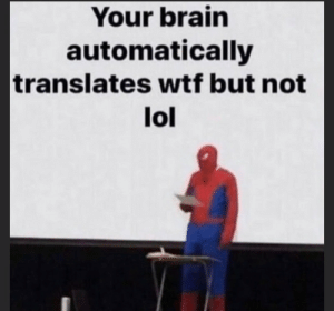 meirl: Your brain  automatically  translates wtf but not  lol meirl