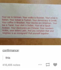 Thoughts?: Your car is German. Your vodka is Russian. Your pizza is  Italian. Your kebab is Turkish. Your democracy is Greek.  Your coffee is Brazilian. Your movies are American. Your  tea is Tamil. Your shirt is Indian. Your oil is Saudi  Arabian. Your electronics are Chinese. Your numbers  Arabic, your letters Latin. And you complain that your  neighbor is an immigrant? Pull yourself together.  confirmance:  this  416,405 notes Thoughts?