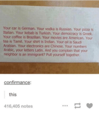 Movies, Pizza, and American: Your car is German. Your vodka is Russian. Your pizza is  Italian. Your kebab is Turkish. Your democracy is Greek.  Your coffee is Brazilian. Your movies are American. Your  tea is Tamil. Your shirt is Indian. Your oil is Saudi  Arabian. Your electronics are Chinese. Your numbers  Arabic, your letters Latin. And you complain that your  neighbor is an immigrant? Pull yourself together.  confirmance:  this  416,405 notes Think of immigrants