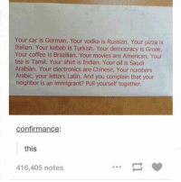 brazilians: Your car is Your vodka is Russian. Your pizza is  Italian. Your kebab is Turkish. Your democracy is Greek.  Your coffee is Brazilian. Your movies are American. Your  tea is Tamil. Your shirt is Indian. Your oil is Saudi  Arabian. Your electronics are Chinese. Your numbers  Arabic, your letters Latin. And you complain that your  neighbor is an immigrant? Pull yourself together.  confirmance  this  416,405 notes