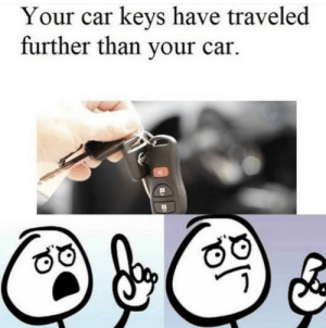 Yeah, Guess, and Car: Your car keys have traveled  further than your car. Ahhhh. Well yeahI guess so