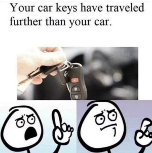 Car, Suppose, and Car Keys: Your car keys have traveled  further than your car.  /e I suppose so