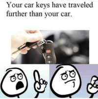 True, Car, and Well: Your car keys have traveled  further than your car. Well I suppose it is true.