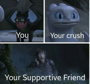 Crush, Dank, and Memes: Your crush  You  Your Supportive Friend So true by TheJarrettGaming MORE MEMES