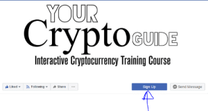 Facebook, Facepalm, and Following: YOUR  CryptoeUIDE  Interactive Cryptocurrency Training Course  Following  Send Message  Liked  Share  Sign Up Facebook likes
