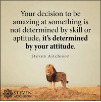 Amazing, Attitude, and Aptitude: Your decision to be  amazing at something is  not determined by skill or  aptitude, it's determined  by your attitude.  Steven Aitchison  .  STEVEN  SO0 AITCHISON <3