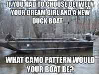Boat: YOUR DREAM  DUCK BOAT  WHAT CAMO PATTERN WOULD  YOUR BOAT BE30