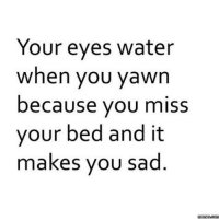 Dank, 🤖, and Yawn: Your eyes water  when you yawn  because you miss  your bed and it  makes you sad  memes.com Always thinking of you <3