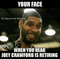 After 39 years, Joey Crawford is retiring. What are your thoughts on his retirement? GoSpursGo Spurs SpursNation RaceForSeis SpursFamily GoSpursGoMemes: YOUR FACE  Go Spurs Go Memes  WHEN YOU HEAR  JOEY CRAWFORD IS RETIRING After 39 years, Joey Crawford is retiring. What are your thoughts on his retirement? GoSpursGo Spurs SpursNation RaceForSeis SpursFamily GoSpursGoMemes