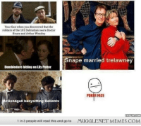 """Arthur, Doctor, and Dumbledore: Your face when you discovered that the  robbers of the 101 Dalmatians were Doctor  House and Arthur Weasley  nape married trelawney  Dumbledore hitting on Lily Potter  POK R FACE  Gonagall babysitting Bellatrix  HYPUNCOM  1 in 3 people will read this and go to  MUGGLENET MEMES.COM <p>My life is a lie! <a href=""""http://ift.tt/1xJRxB1"""">http://ift.tt/1xJRxB1</a></p>"""