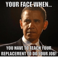 your face when: YOUR FACE WHEN  YOU HAVE TO TEACH YOUR  REPLACEMENT TO DO YOUR JOB!