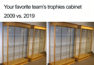 47 Hilarious 10 Year Challenge Memes | What is #10YearChallenge?: Your favorite team's trophies cabinet  2009 vs. 2019 47 Hilarious 10 Year Challenge Memes | What is #10YearChallenge?