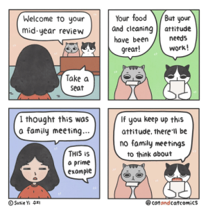 Family, Food, and Work: Your food  and cleaning  But your  Welcome to your  attitude  mid-year review  needs  have been  great!  work!  Take a  seat  I thought this was  a family meeting...  lf  you keep up this  attitude, there'll be  no family meetings  THIS iS  to think about  a prime  example  @catandcatcomics  Susie Yi 4I Your Cat Boss [OC]
