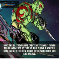 Memes, World, and Thanos: Your Geek onl  lated  DRAX THE DESTROYER WAS CREATED BY THANOS' FATHER  AND GRANDFATHER SO THAT HE WOULD HAVE A NEMESIS.  DRAX IS ONE OF THE FEW BEINGS IN THE WORLD WHO CAN  KILL THANOS 😎  ~LadyKiller~