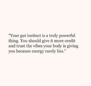 """Rarely: """"Your gut instinct is a truly powerful  thing. You should give it more credit  and trust the vibes your body is giving  you because energy rarely lies.""""  39"""