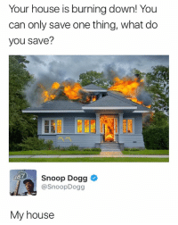 My House, Snoop, and Snoop Dogg: Your house is burning down! You  can only save one thing, what do  you save?  Snoop Dogg *  @SnoopDogg  87  My house Smart