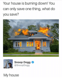 Smart: Your house is burning down! You  can only save one thing, what do  you save?  187  Snoop Dogg  @SnoopDogg  My house Smart