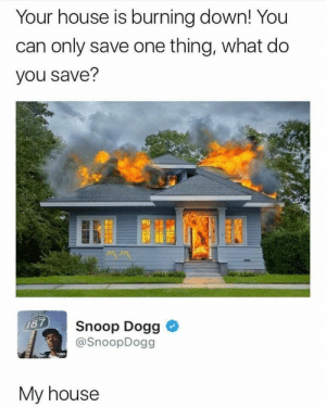 Me irl: Your house is burning down! You  can only save one thing, what do  you save?  Snoop Dogg  @SnoopDogg  78  My house Me irl