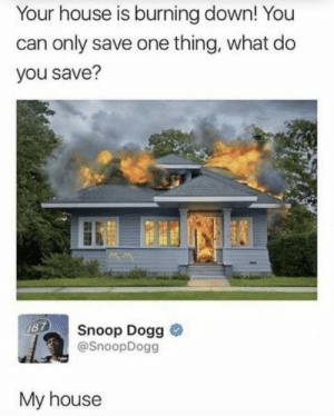 snoop dogg: Your house is burning down! You  can only save one thing, what do  you save?  187  Snoop Dogg  @SnoopDogg  My house