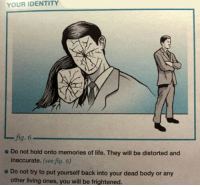 Life, Living, and Back: YOUR IDENTITY  fig. 6  inaccurate. (see fig. 6)  other living ones, you will be frightened.  - Do not hold onto memories of life. They will be distorted and  e Do not try to put yourself back into your dead body or any
