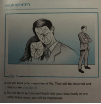 nckfrmptn: YOUR IDENTITY  fig. 6  inaccurate. (see fig. 6)  other living ones, you will be frightened.  e Do not hold onto memories of life. They will be distorted and  e Do not try to put yourself back into your dead body or any nckfrmptn