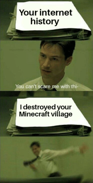 Internet, Minecraft, and Reddit: Your internet  history  You can't scare me with thi-  I destroyed your  Minecraft village Thems fightin' words
