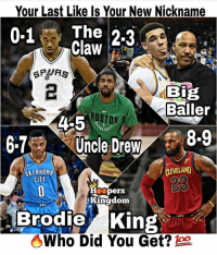 What did you get? 👀🔥 - Follow @_nbamemes._ - via @hooperskingdom: Your Last Like Is Your New Nickname  0-1 The 2-3  Claw  BIB  Baller  1,  OSTON  4-5  87 Uncle Dre 8.9  AKLAHOMA  CLEVELAND  23  pers  Kingdom  Brodie King  Who Did You Get? What did you get? 👀🔥 - Follow @_nbamemes._ - via @hooperskingdom