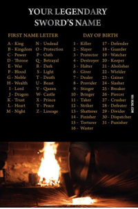 I'm leading a zombie army with Undead Wielder! How about you? http://9gag.com/gag/aA12gpZ?ref=fbp: YOUR LEGENDARY  SWORD'S NAME  FIRST NAMELETTER  DAY OF BIRTH  A King  N Undead  1 Killer  17 Defender  B Kingdom o Protection  2- Slayer  18 Guarder  C Power  P Oath  3- Protector 19- Watcher  D Throne  Q Betrayal  4 Destroyer 20 Keeper  E-War  R Dark  5 Halter  21 Abolisher  F Blood  S Light  6 Giver  22 Wielder  7- Dealer  23 Gainer  G Noble  T Death  H Wealth  U-Beast  8 Provider 24- Slasher  I Lord  V Queens  9 Stinger  25 Breaker  J Dragon W. Castle  10 Bringer 26 Piercer  11- Taker  27 Crusher  K Trust  X-Prince  12 Striker  28- Defeater  L Heart  Y Peace  M-Night Z Lineage 13 Shatterer 29 Divider  14 Finisher  30 Dispatcher  15 Torturer 31 Punisher  16 Waster I'm leading a zombie army with Undead Wielder! How about you? http://9gag.com/gag/aA12gpZ?ref=fbp